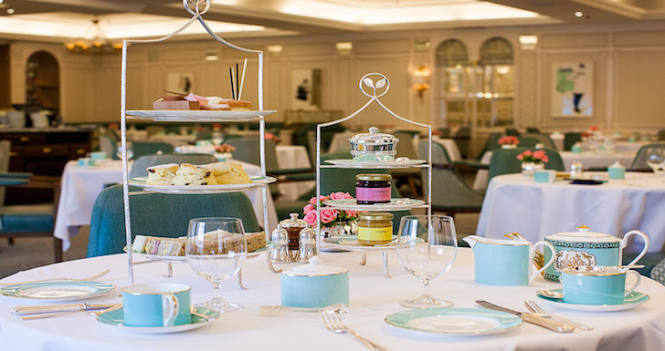 Afternoon tea at Fortnum and Mason with blue china